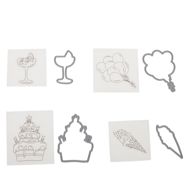 Crafter's Companion Gemini Birthday Mini Icon Stamp and Die Set