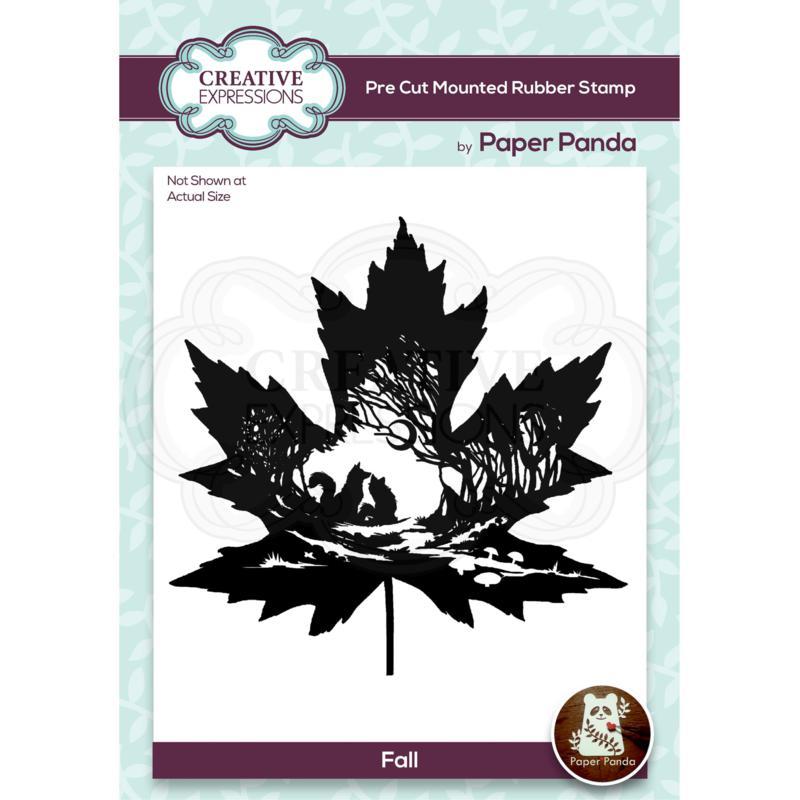"""Creative Expressions Paper Panda Fall 4.4"""" x 4.1"""" Pre-Cut Rubber Stamp"""