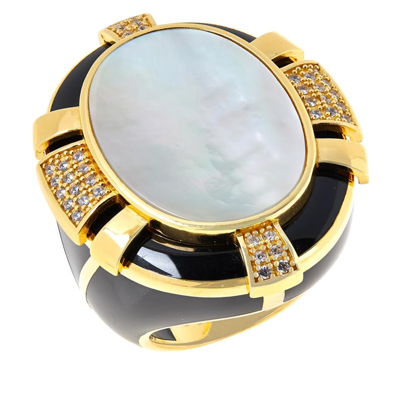Cristina Sabatini Gold-Tone Magique Mother-of-Pearl and CZ Oval Ring