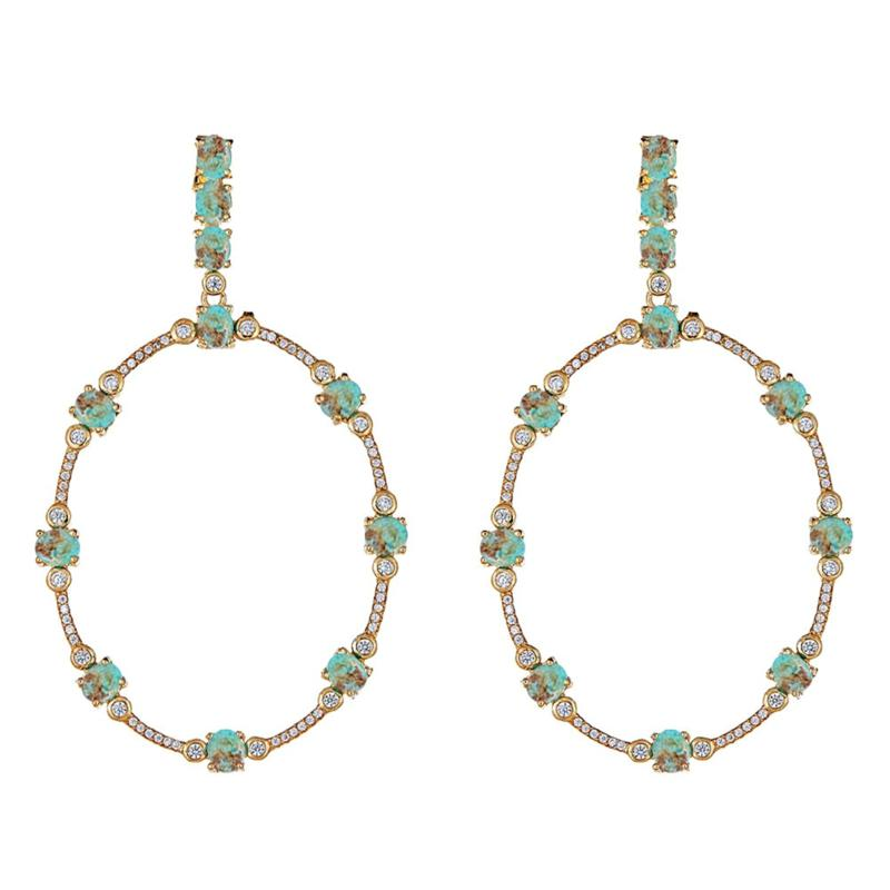 Cristina Sabatini Orbit Gemstone and CZ Drop Earrings