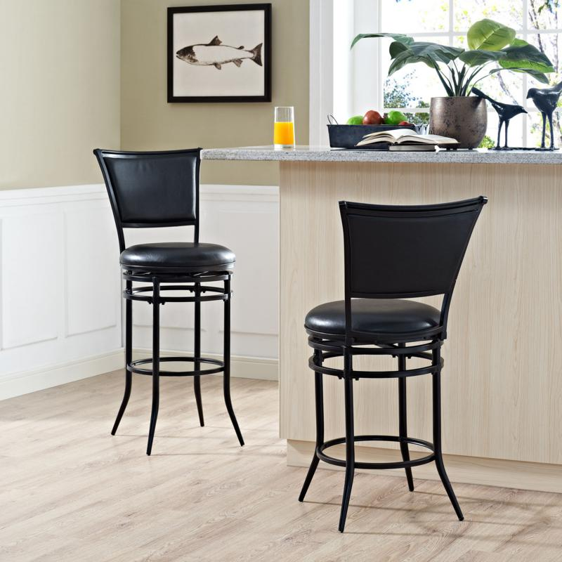 Crosley Furniture Rachel Swivel Bar Stool - Black/Black Cushion