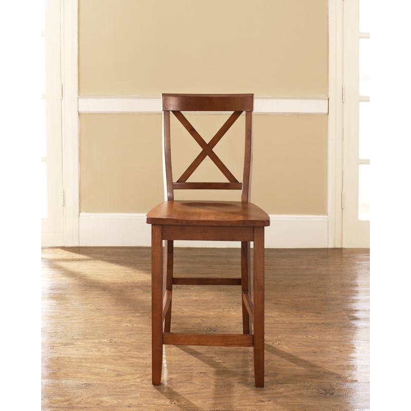 "Crosley Furniture X-Back 2-piece 24"" Bar Stool Set - Cherry"