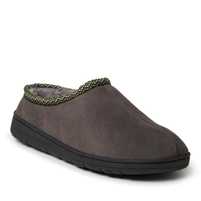 Dearfoams Men's Genuine Suede Clog with Woven Accent