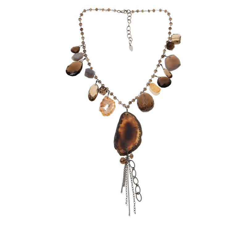 Deb Guyot Studio Agate, Smoky Quartz and Drusy Tassel Necklace
