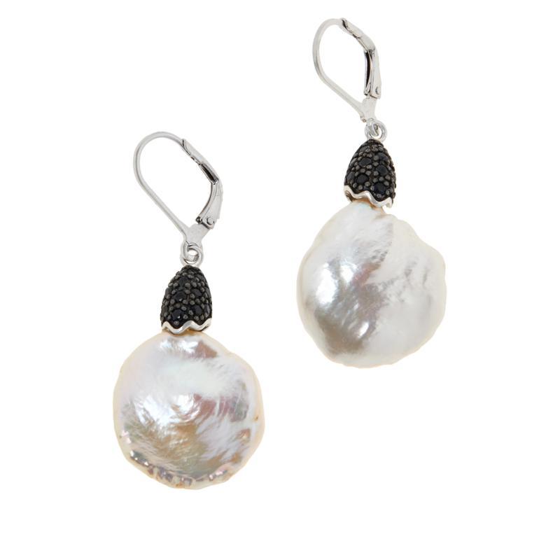 Deb Guyot Studio Semi-Baroque Pearl and Black Spinel Earrings
