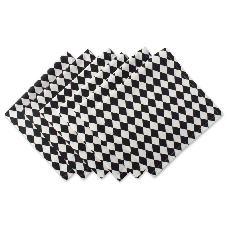 Design Imports Black and Cream Harlequin Napkins Set of 6