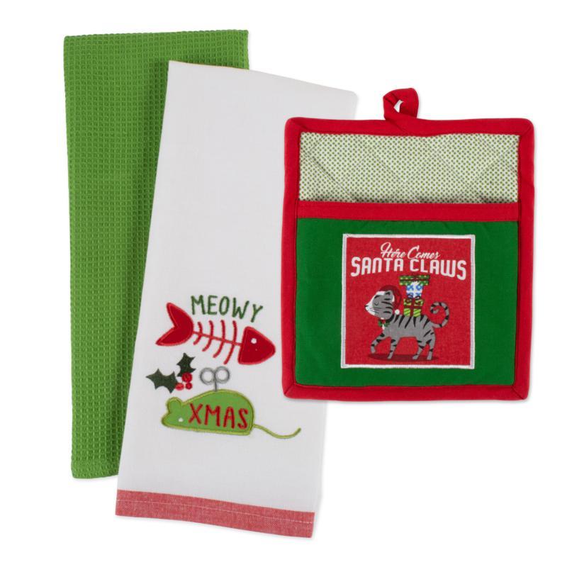 Design Imports Christmas Kitty Kitchen Gift Set of 3