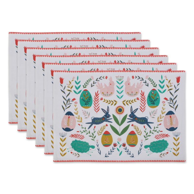 Design Imports Easter Folk Garden Embellished Placemat Set 6-pack