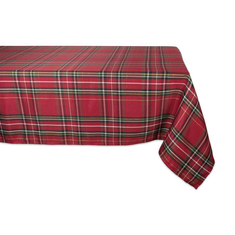 "Design Imports Holiday Metallic Plaid Tablecloth 60"" x 104"""