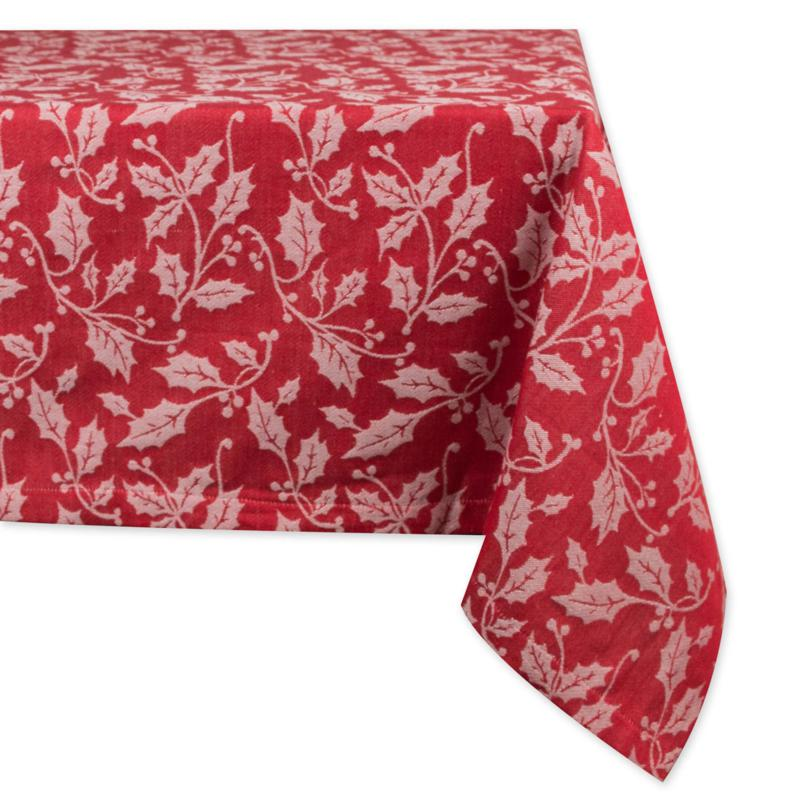 Design Imports Holly Flourish Jacquard Tablecloth 60-inch by 84-inch
