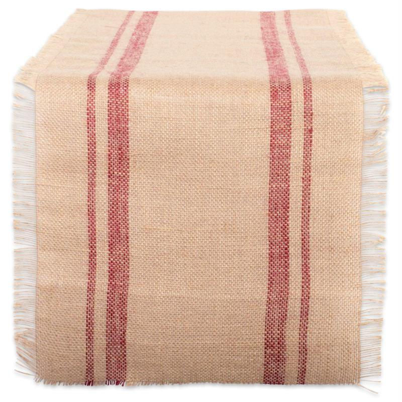 Design Imports Jute Double Border Table Runner 14-inch by 108-inch