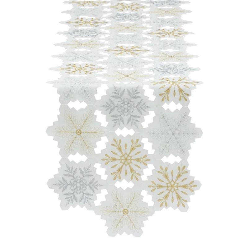 """Design Imports Metallic Snowflake Embroidered Table Runner 14"""" x 54"""""""