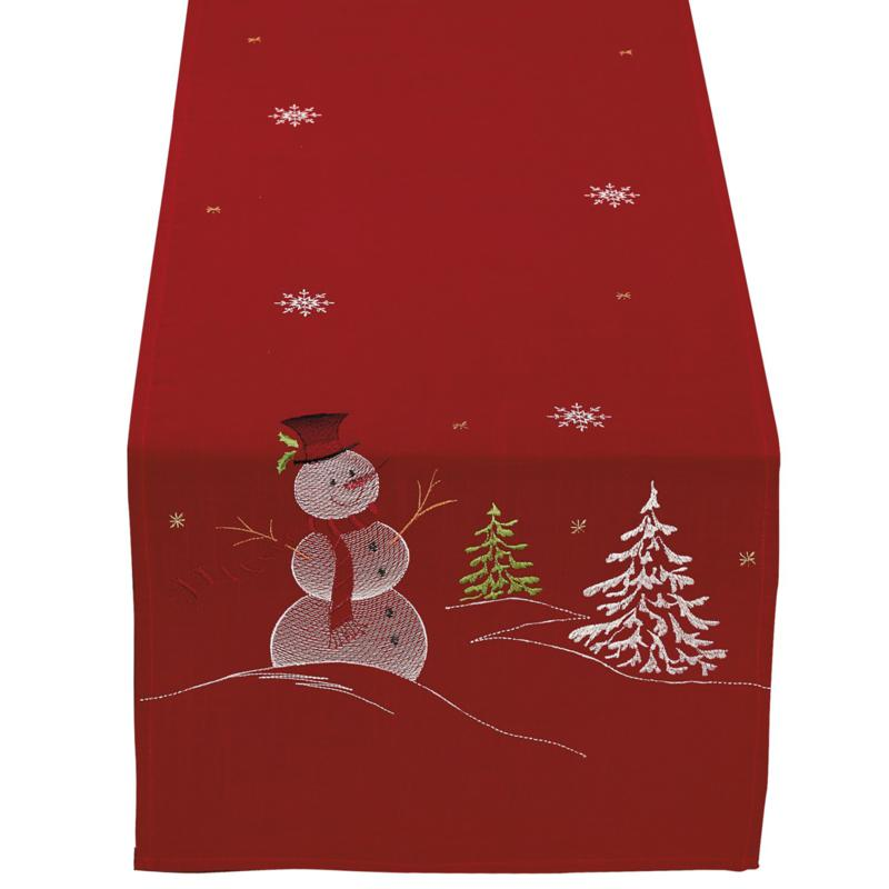 Design Imports Snowman Embroidered Table Runner 14-inch x 70-inch