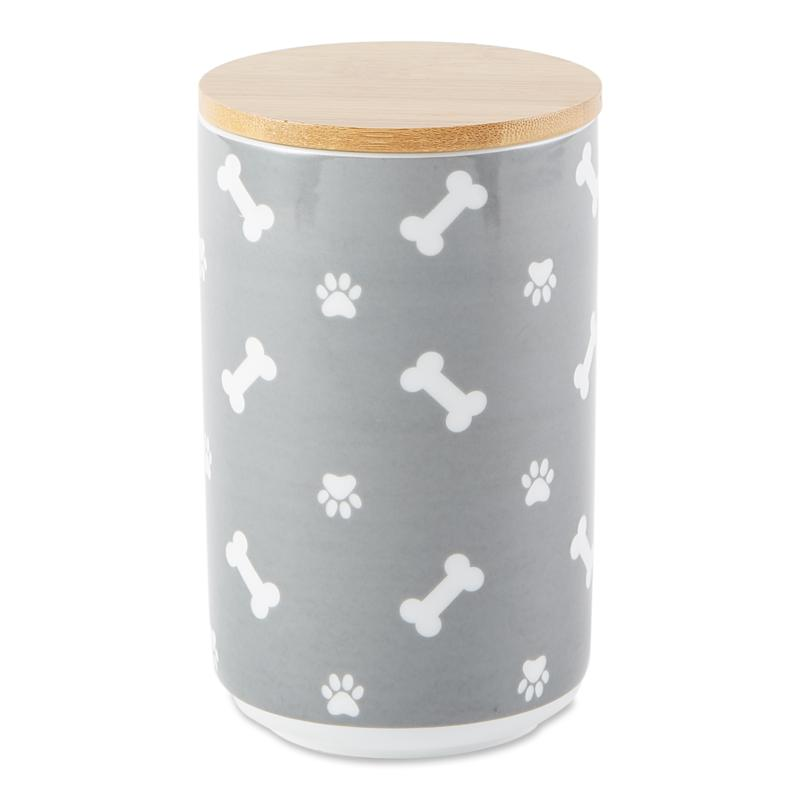 Design Imports Tossed Bone and Paw Print Ceramic Treat Canister
