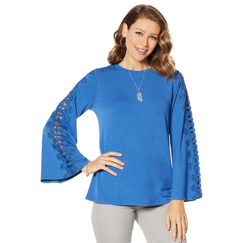 DG2 by Diane Gilman Bell-Sleeve Top with Crochet Lace Trim