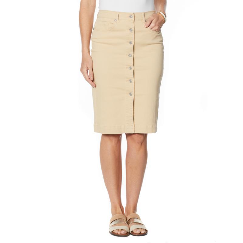 DG2 by Diane Gilman Cavalry Twill Button-Front Skirt