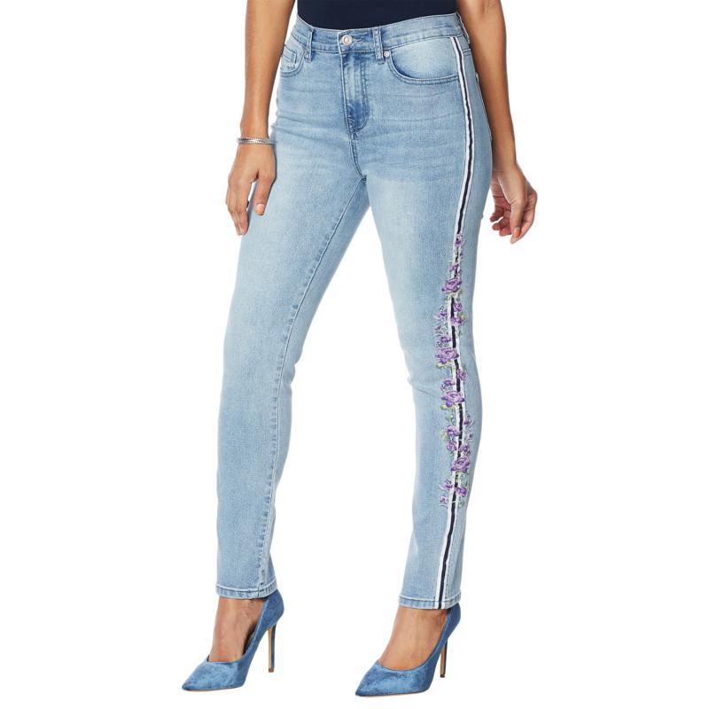 DG2 by Diane Gilman Classic Stretch Embroidered Stripe Skinny Jean
