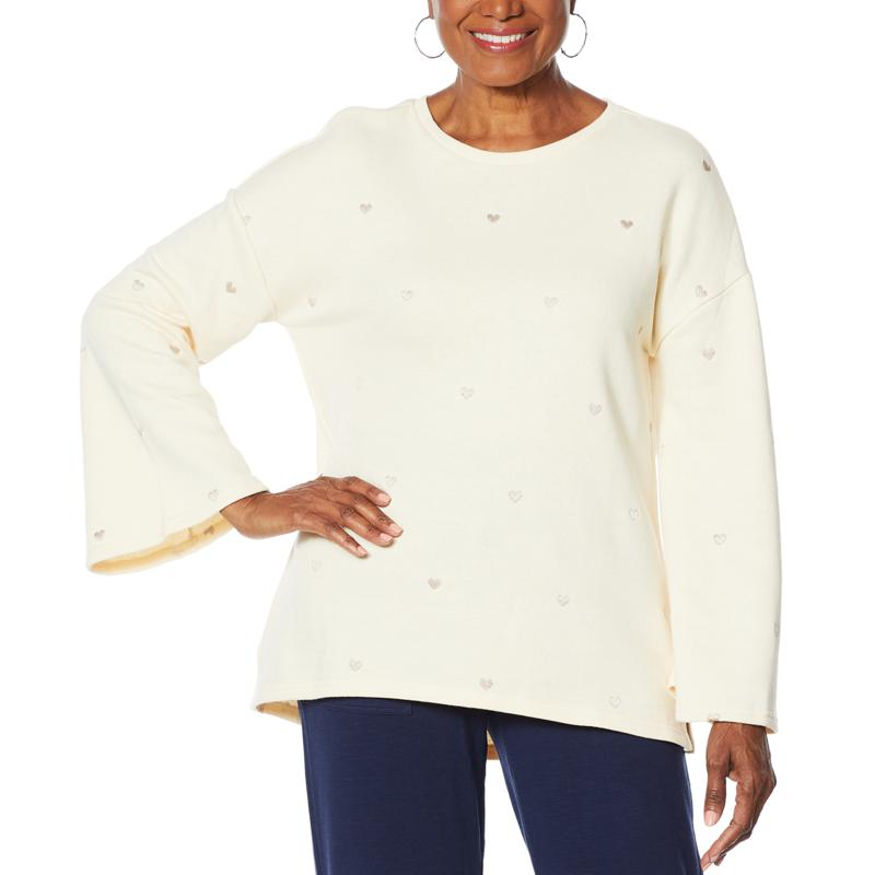 """DG2 by Diane Gilman """"DG Downtime"""" Embroidered Heart Sweatshirt"""