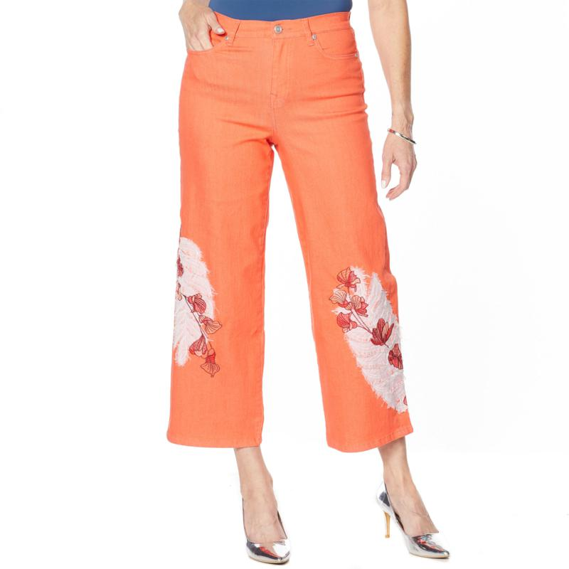 DG2 by Diane Gilman Embroidered Cropped Wide-Leg Jean - Fashion