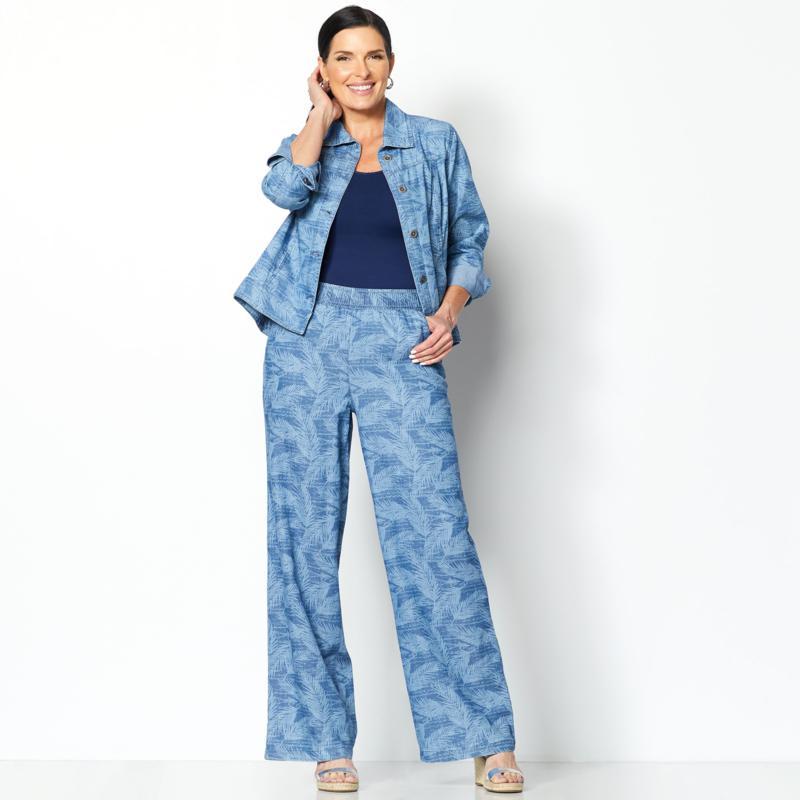 DG2 Diane Gilman SoftCell Denim Wide-Leg Pant Midtone Palm Tall 2X NEW 697-542