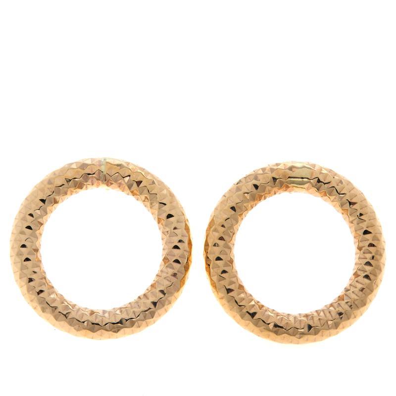 Dieci 10K Gold Diamond-Cut Open Circle Earrings
