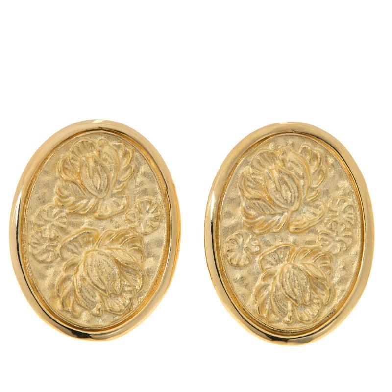 Dieci 10K Gold Flower Cameo Oval Earrings