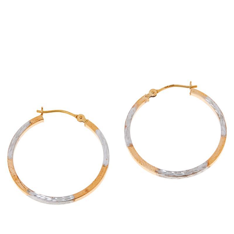 Dieci 10K Gold Two-Tone Diamond-Cut Hoop Earrings