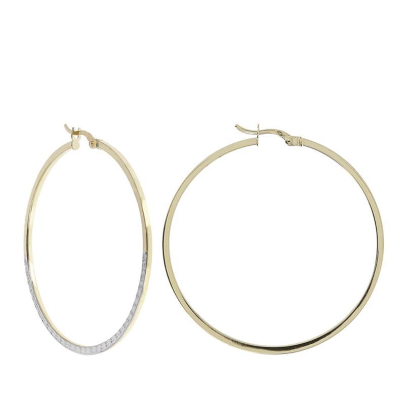 Dieci 10K Gold Two-Tone Polished and Diamond-Cut Hoop Earrings