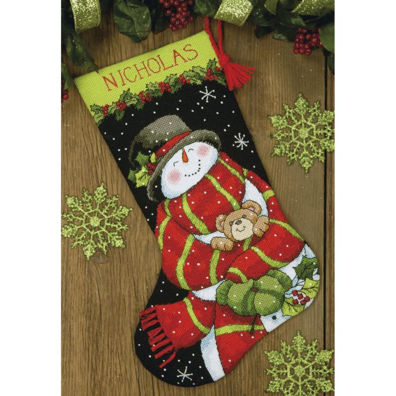 """Dimensions Stocking Needlepoint Kit 16""""-Snowman&Bear Stitched In Floss"""