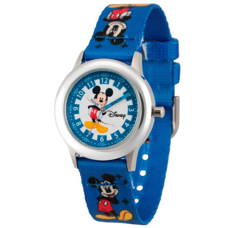 Disney Mickey Mouse Kid's Time Teacher Watch w/ Printed Blue Strap