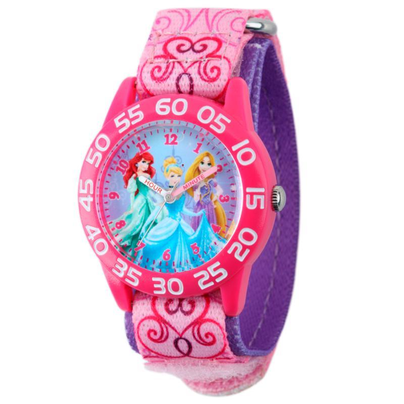 Disney Princess Kids Pink Time Teacher Watch w/ Printed Nylon Strap