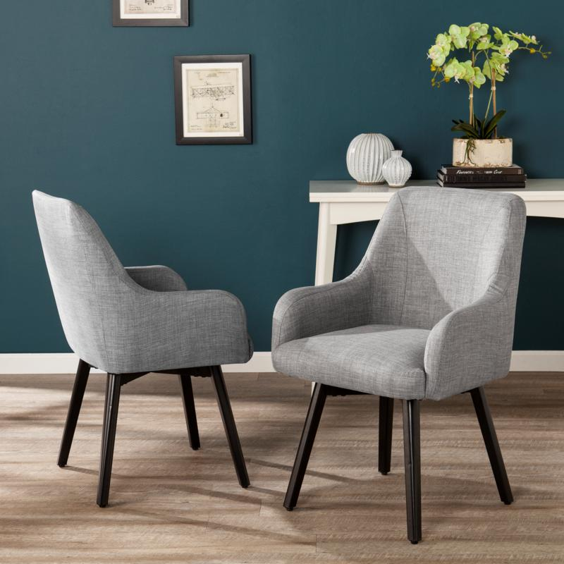 Draco Pair of Upholstered Swivel Arm Chairs - Light Gray