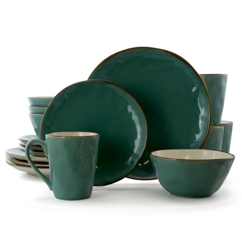 Elama Caribbean Tide 16 Piece Round Stoneware Dinnerware Set in Green