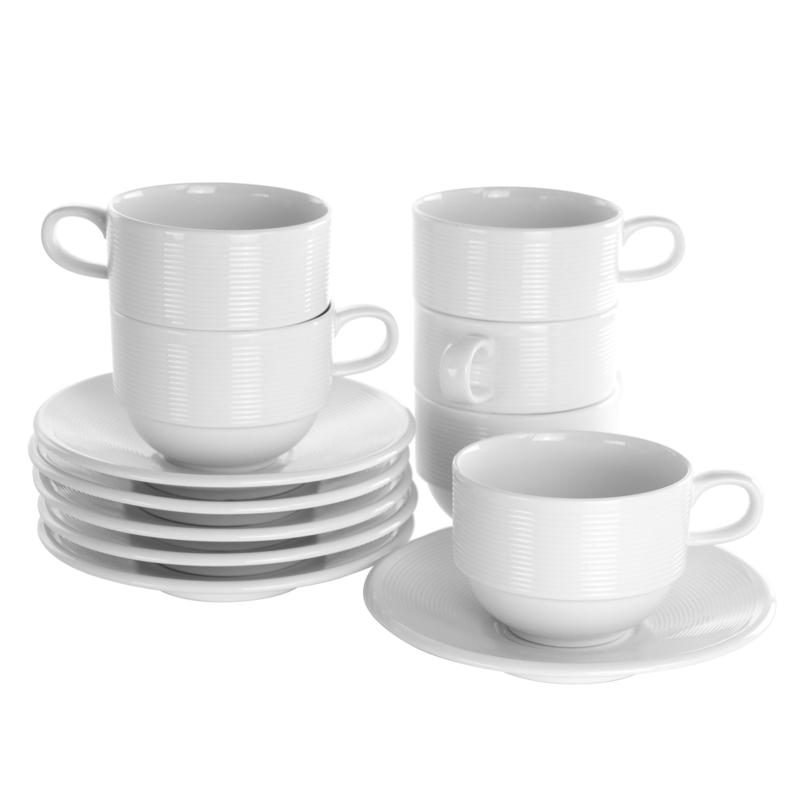 Elama Drew 12 Piece Porcelain Cup and Saucer Set in White