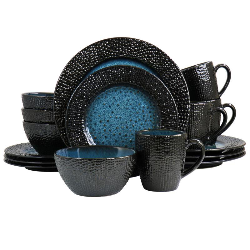 Elama Estevan Textured Stoneware Dinnerware 16-Pc Set, Charcoal & Blue