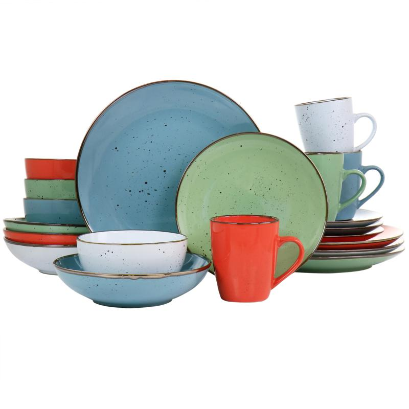 Elama Evelyn 20-pc Round Stoneware Dinnerware Set in Assorted Colors