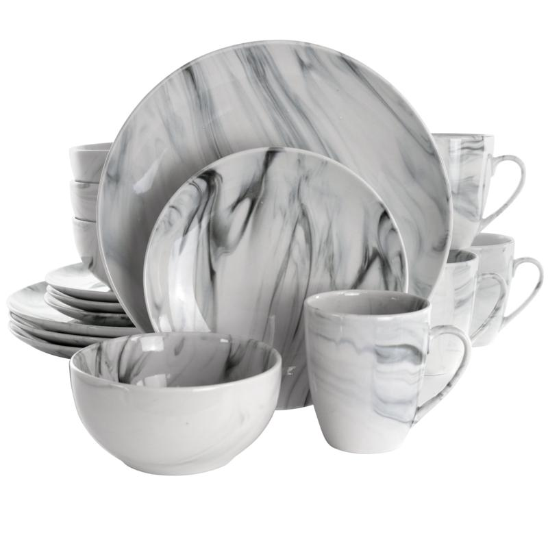 Elama Fine Marble 16 Piece Stoneware Dinnerware Set in Black and White