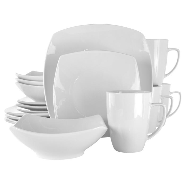 Elama Hayes 16-Pc Square Porcelain Dinnerware Set in White