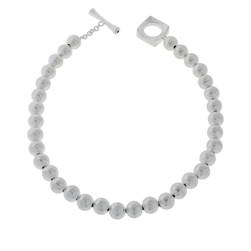 ELLE Sterling Silver Bold Bead Necklace with Toggle Clasp