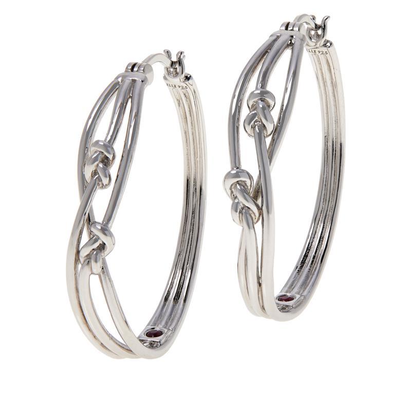ELLE Sterling Silver Spellbound Knot Hoop Earrings