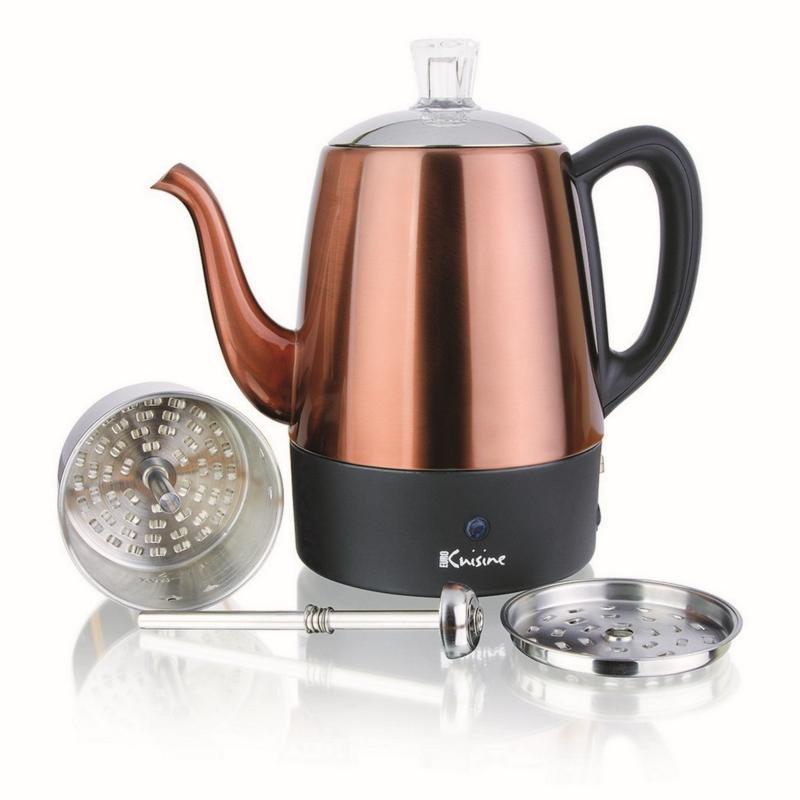 Euro Cuisine Electric Percolator - 4-cup in Copper Finish