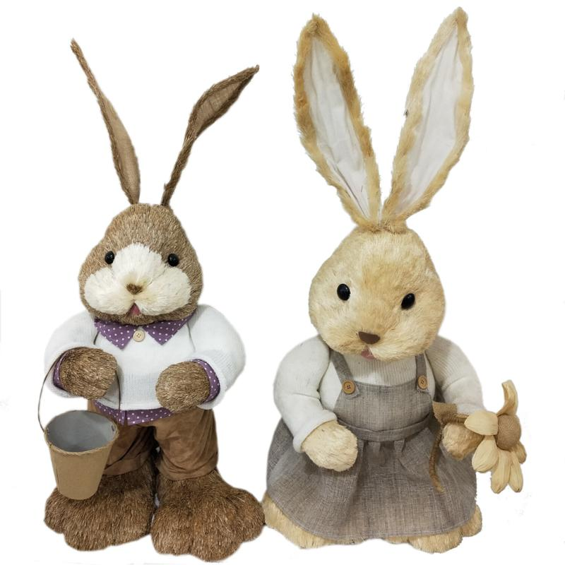"Fraser Hill Farm 15"" Sisal Mr. & Mrs. Bunny Spring Easter Decoration"