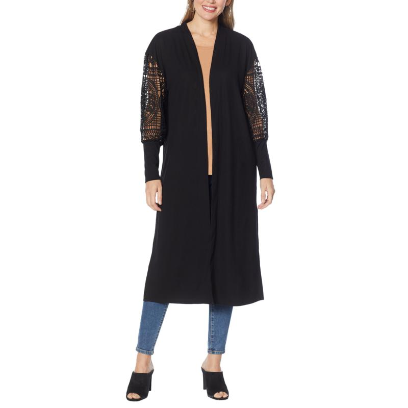 G by Giuliana Lace-Sleeve Duster Cardigan