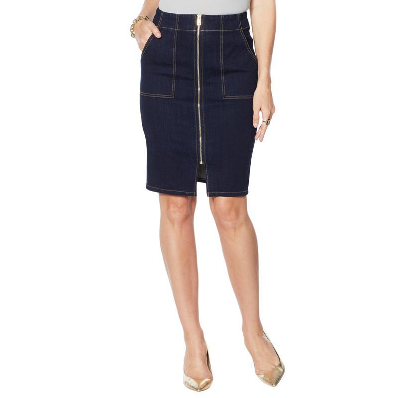 G by Giuliana Zip-Front Denim Skirt