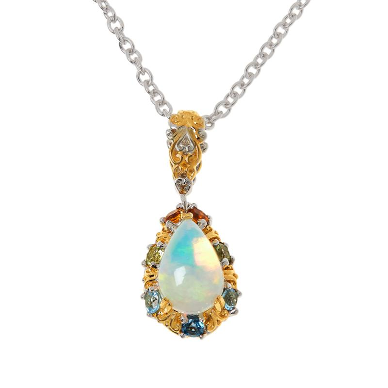 Gems by Michael Opal and Multi-Gemstone Pendant with Chain