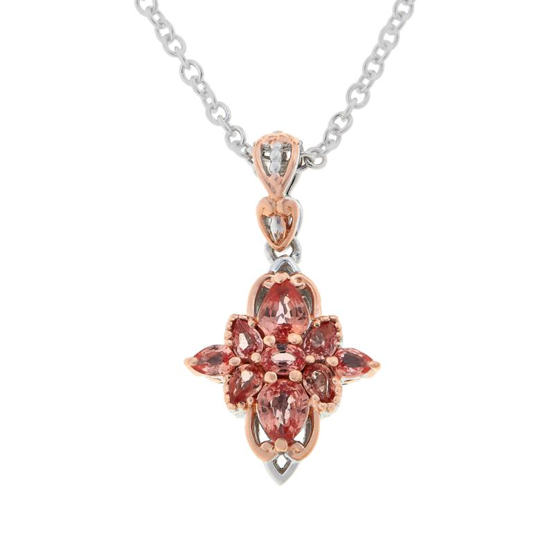 Gems by Michael Padparadscha Cluster Pendant with Chain