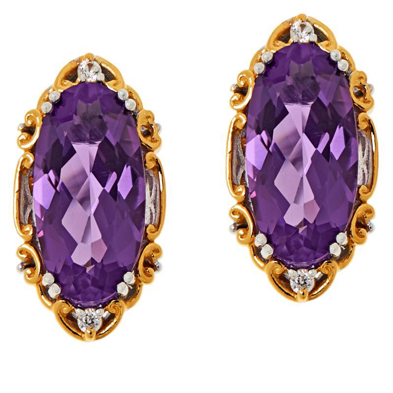Gems by Michael Sterling Silver Ametista Amethyst & Zircon Earrings