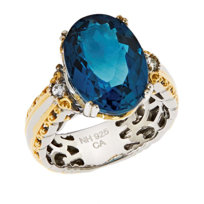 Gems by Michael Sterling Silver London Blue Topaz & Zircon Oval Ring