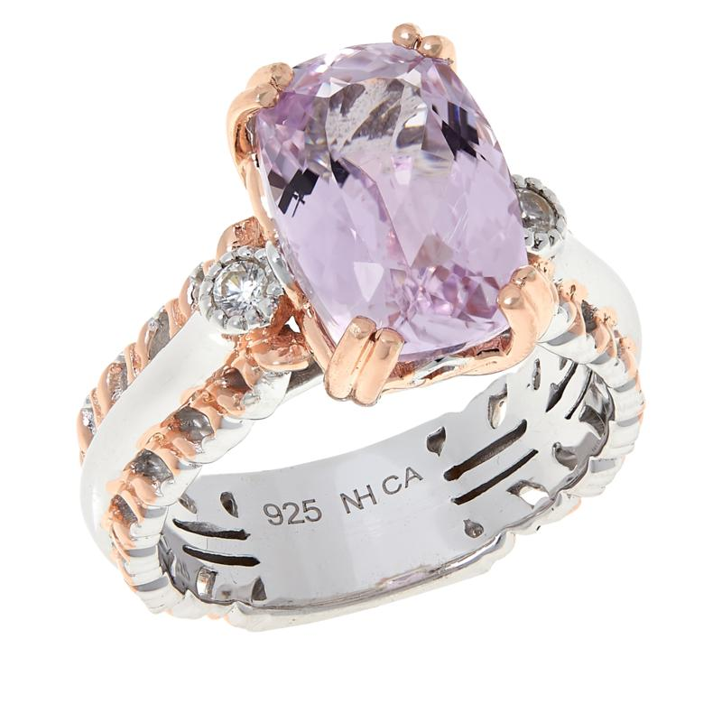 Gems by Michael Sterling Silver Pink Kunzite and White Zircon Ring