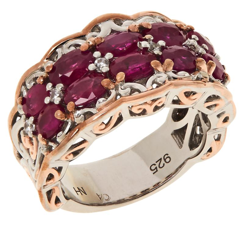 Gems by Michael Sterling Silver Ruby and White Zircon Band Ring
